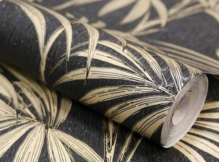 Black and Gold leaf wallpaper roll